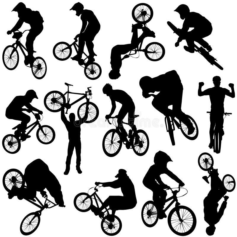 3辆自行车向量 库存例证