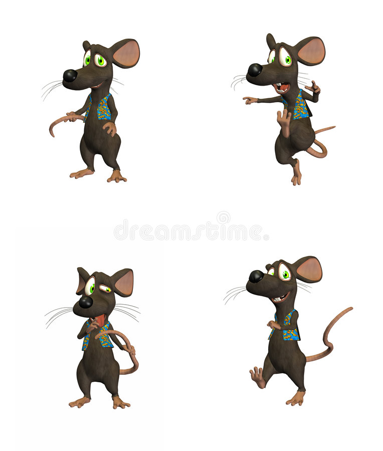 3部动画片鼠标装箱 皇族释放例证