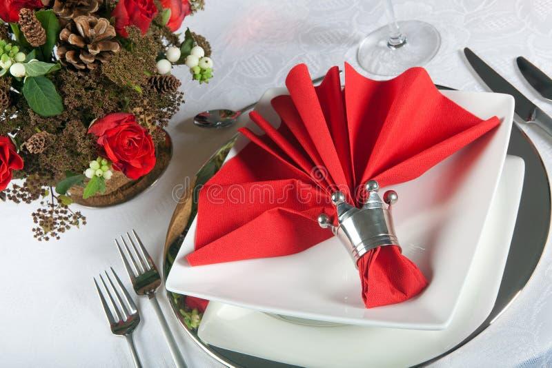 3 świąteczny czerwieni stołu biel zdjęcie royalty free