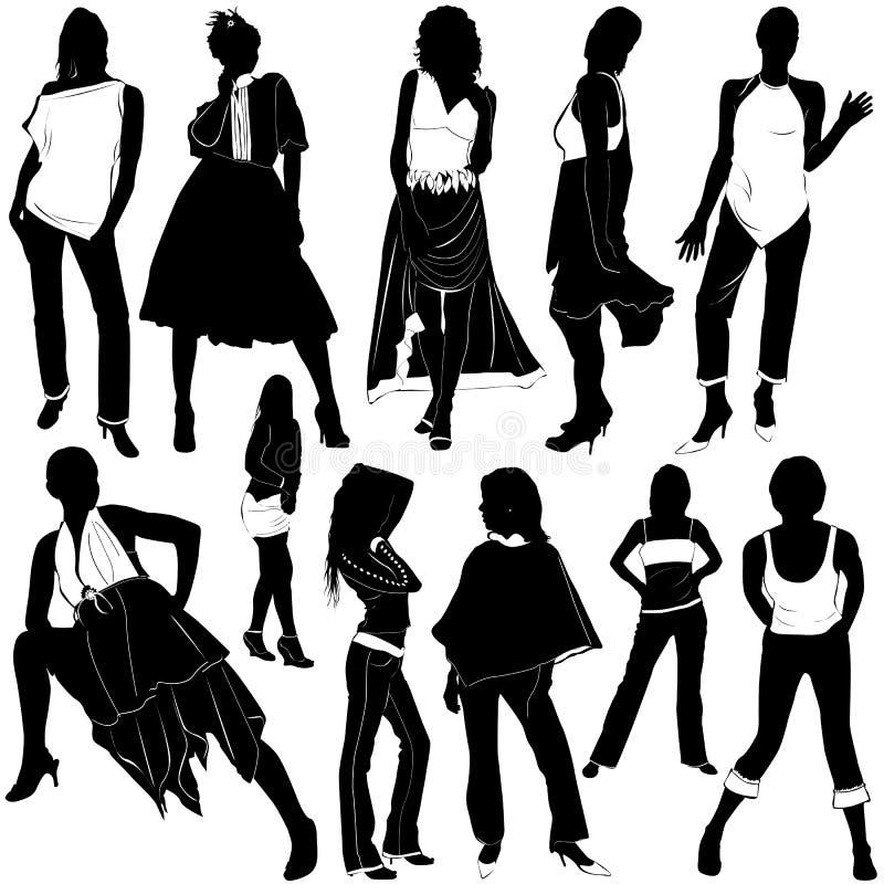3 διανυσματικές γυναίκες μόδας διανυσματική απεικόνιση
