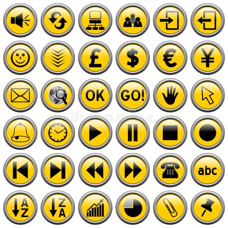 3 κουμπιά γύρω από τον Ιστό κίτρινο Στοκ Εικόνες