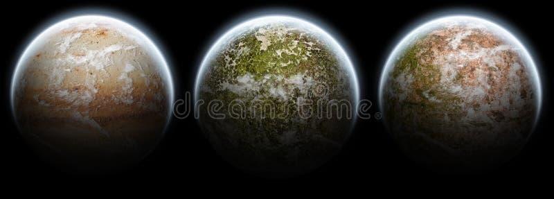 3 μαύροι πλανήτες φεγγαριώ& στοκ εικόνα