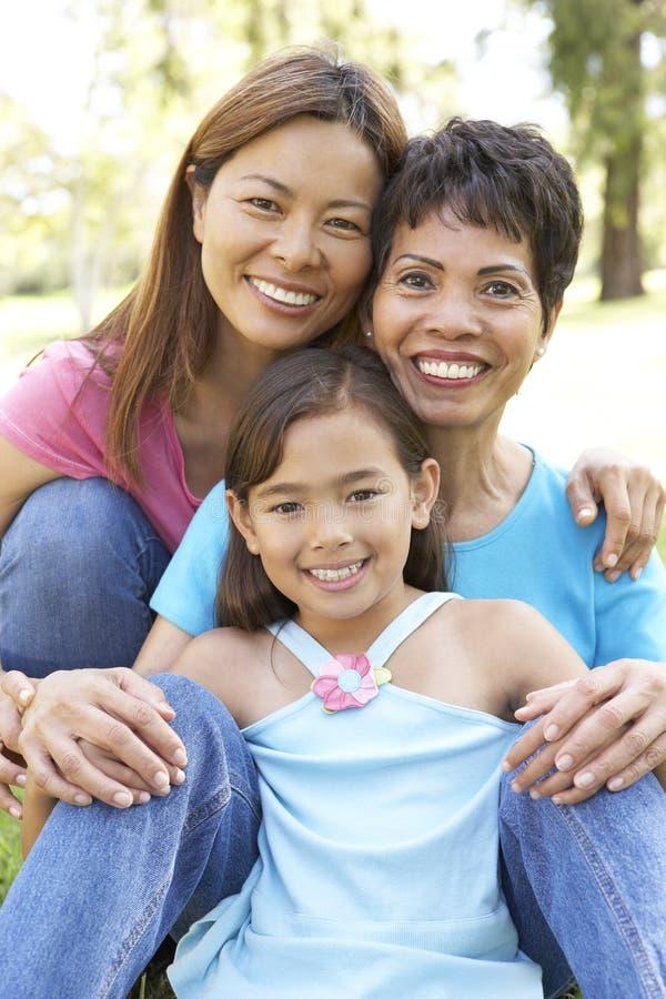 3 οικογένεια γενεάς που έχει τη διασκέδαση στο πάρκο στοκ εικόνες με δικαίωμα ελεύθερης χρήσης
