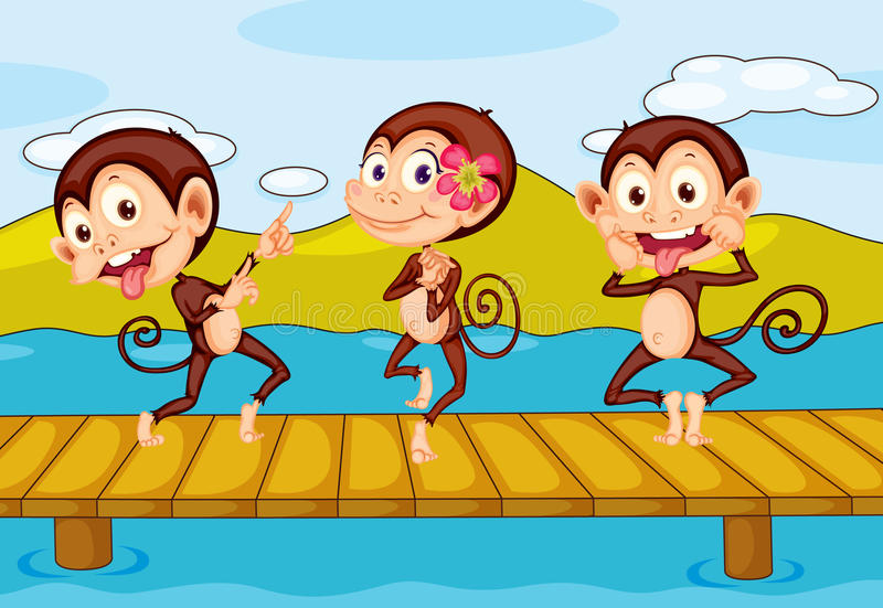 3 πίθηκοι διανυσματική απεικόνιση
