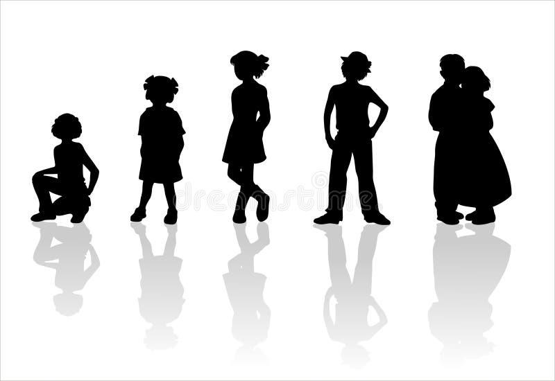 3 σκιαγραφίες παιδιών s ελεύθερη απεικόνιση δικαιώματος