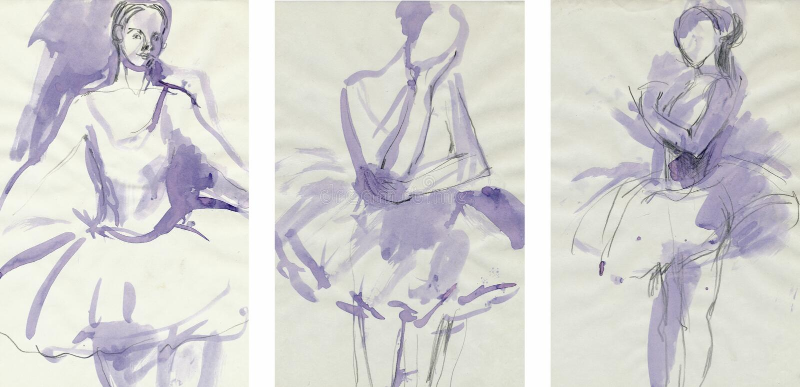 3 χορευτές που σύρουν τι&sigma απεικόνιση αποθεμάτων