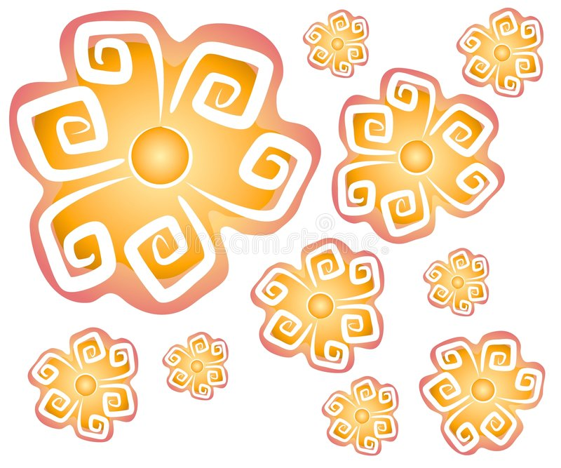3 абстрактных цветка предпосылки иллюстрация вектора