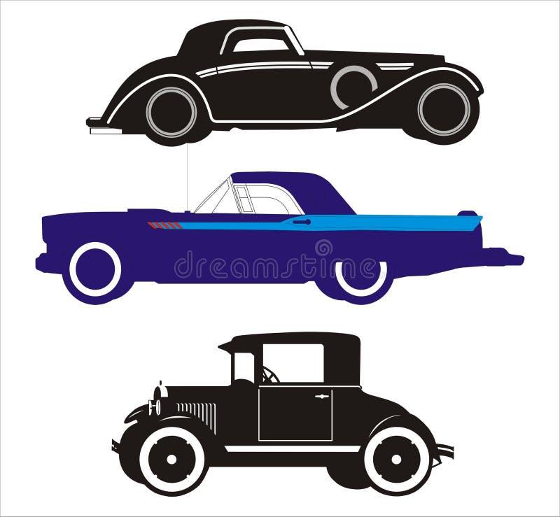 3 автомобиля старого иллюстрация штока