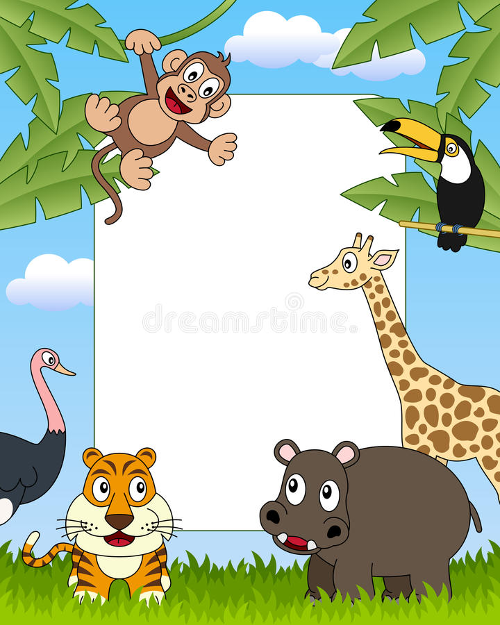 3 африканских животного обрамляют фото иллюстрация штока