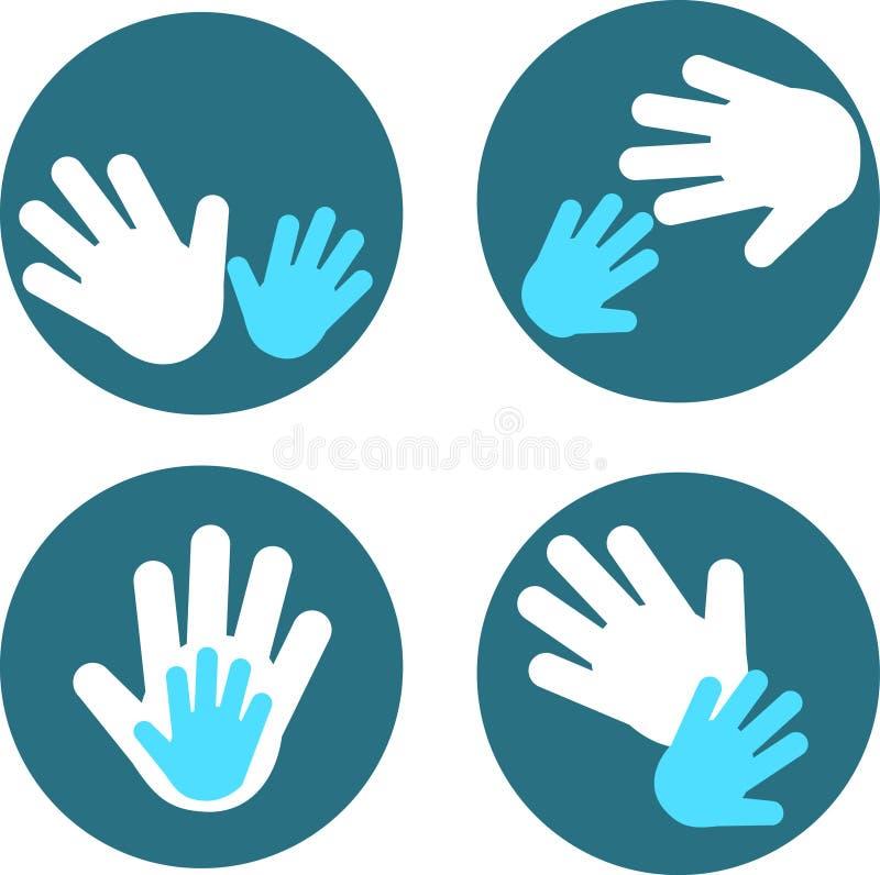 3 взрослых руки s ребенка иллюстрация штока