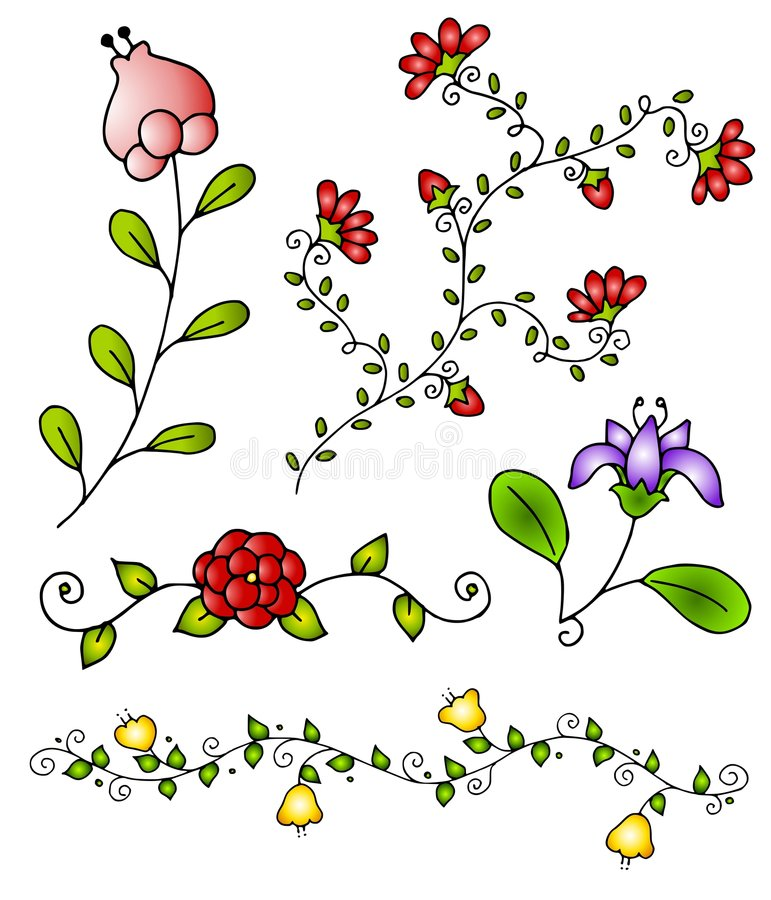3 вычерченных цветка вручают вектор весны иллюстрация штока