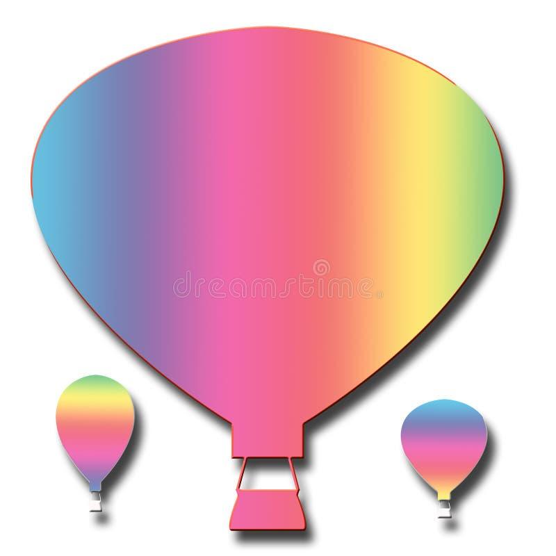 3 горячих чертежа воздушного шара иллюстрация вектора