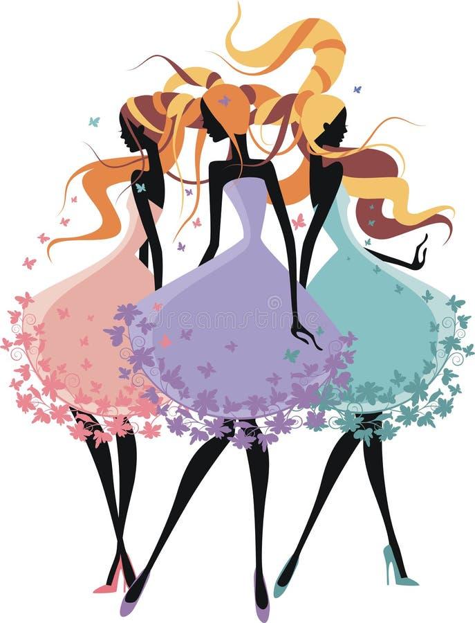3 девушки силуэта иллюстрация штока