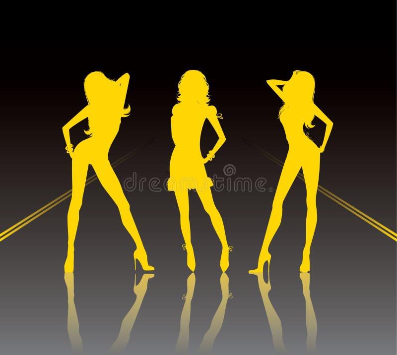 3 девушки иллюстрация вектора