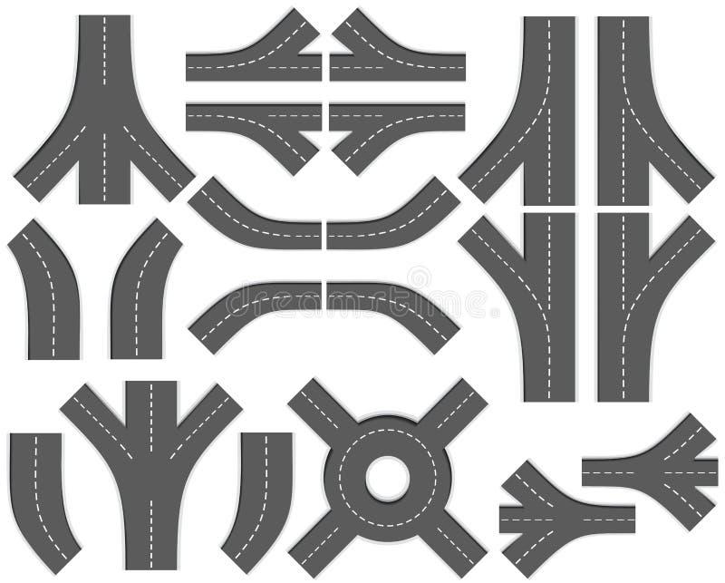 3 дороги части карты набора творения diy ity иллюстрация вектора