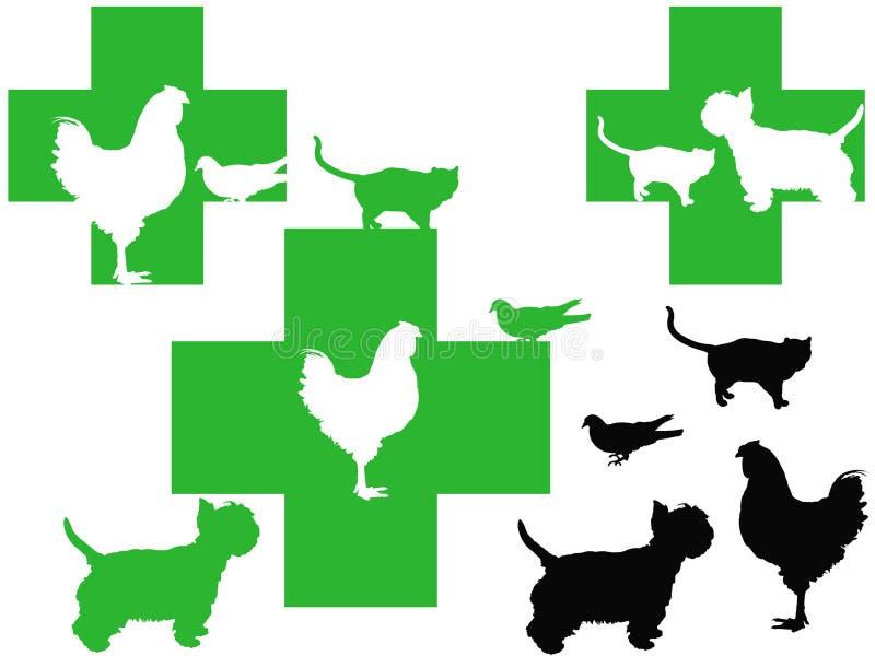3 животного пересекают милые логосы ветеринарные иллюстрация вектора