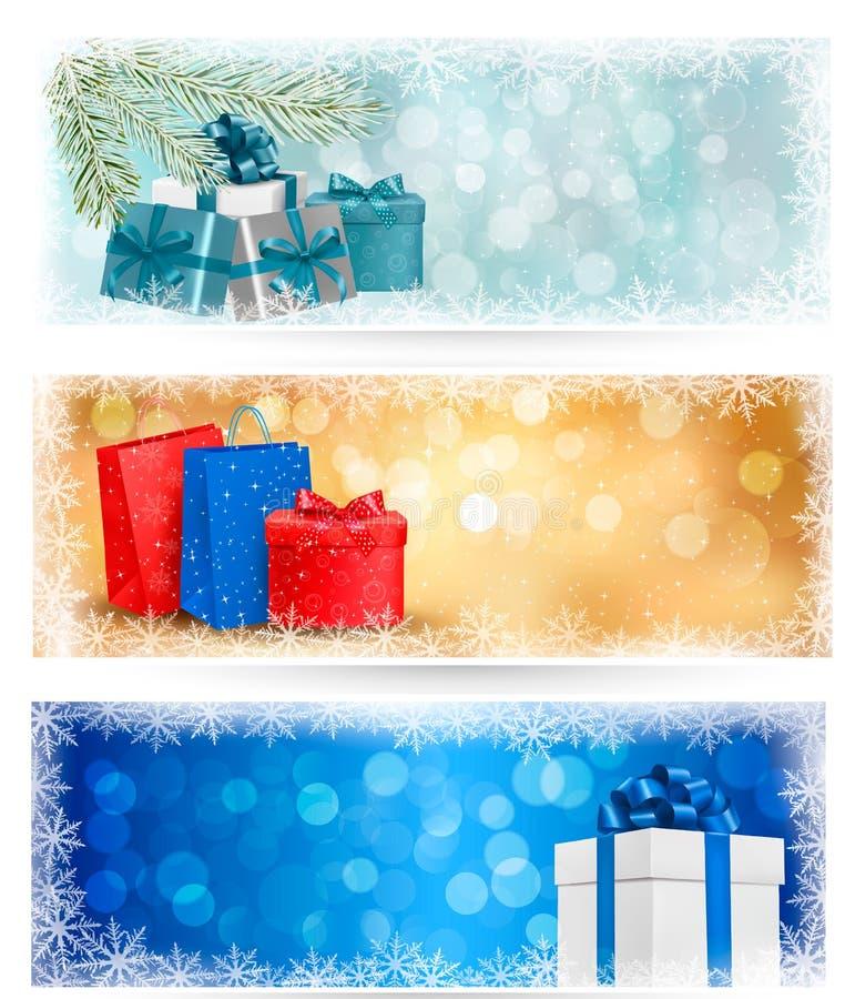 3 знамени рождества с коробкой подарка иллюстрация вектора
