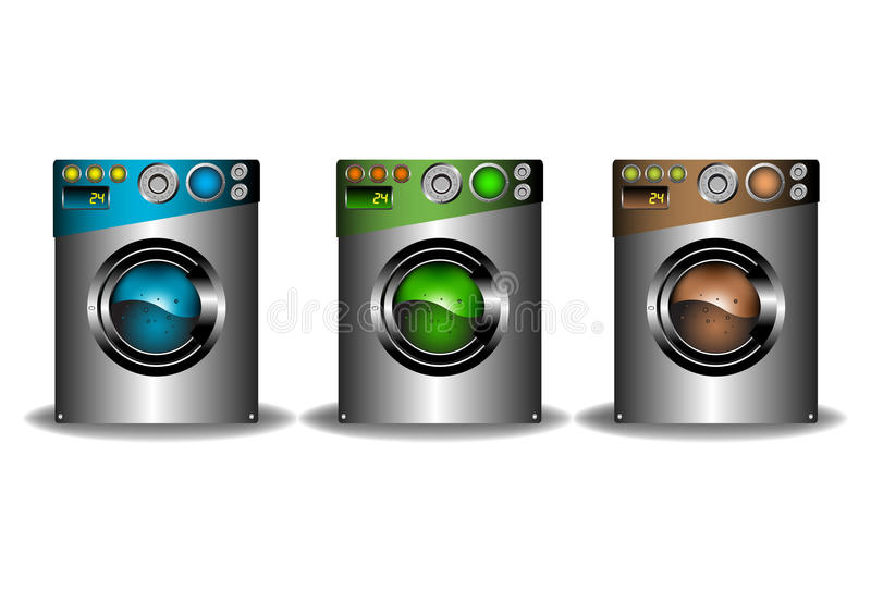 3 изолированных стиральной машины иллюстрация вектора