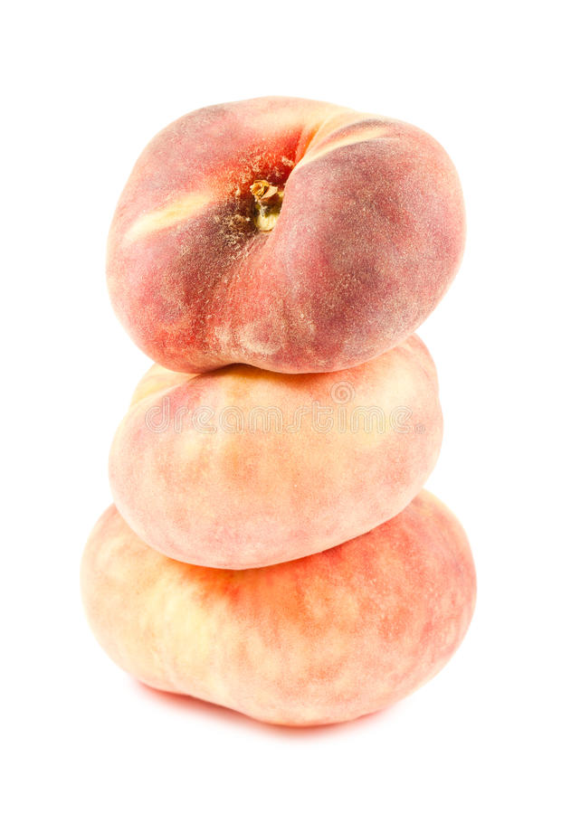 3 китайских плоских персика стоковое изображение