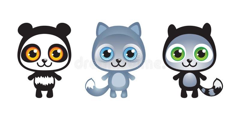3 милых смешных установленного животного младенца иллюстрация штока
