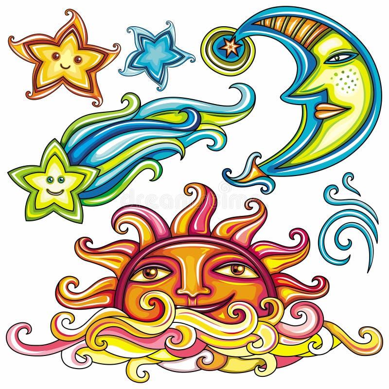 Download 3 небесных символа иллюстрация вектора. изображение насчитывающей день - 19211682