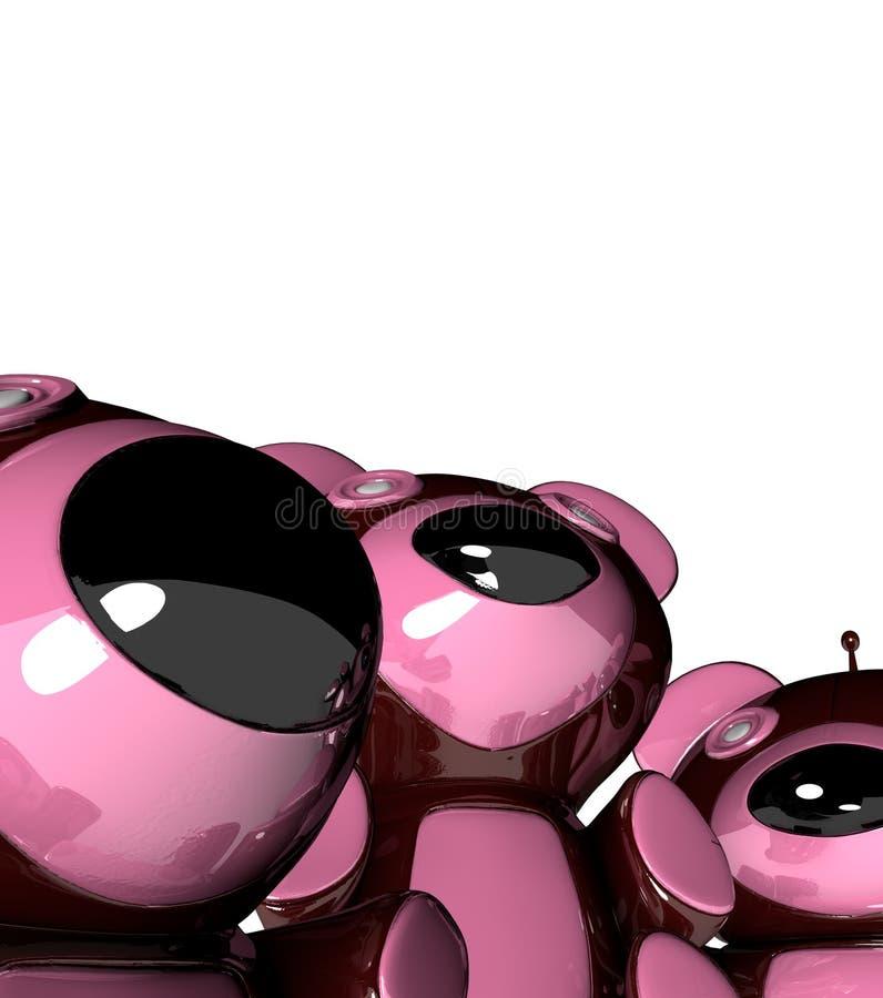 3 отражательного медведей смешных розовых пластичных иллюстрация штока