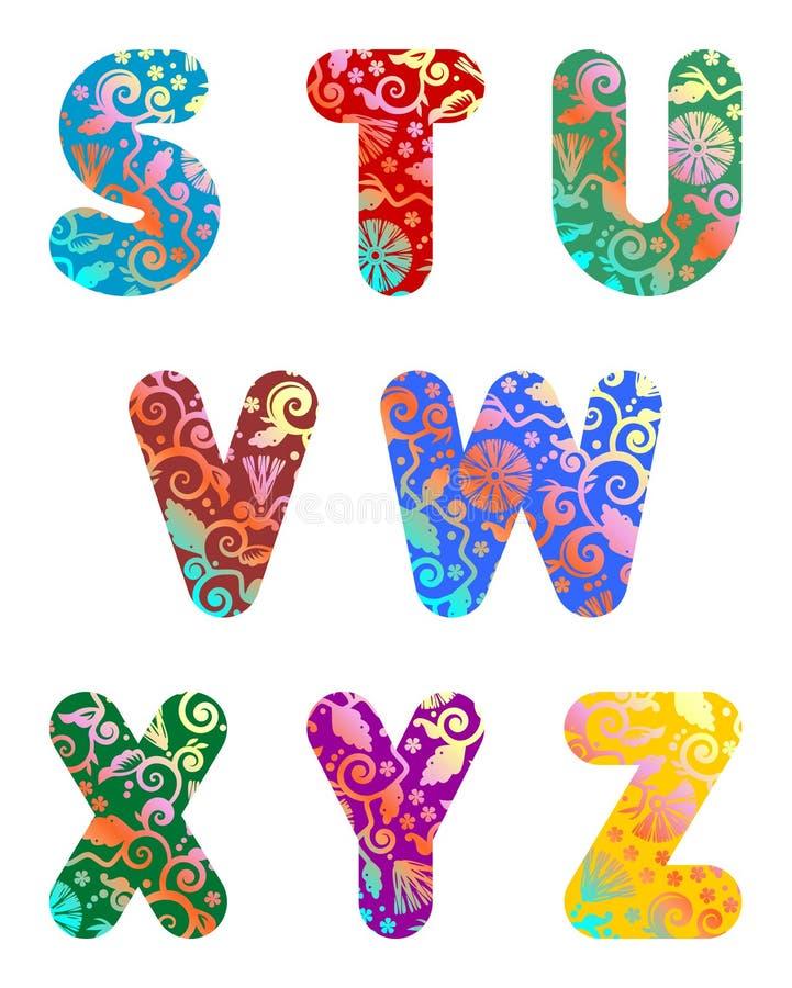 3 письма алфавита красивейших разделяют комплект иллюстрация штока