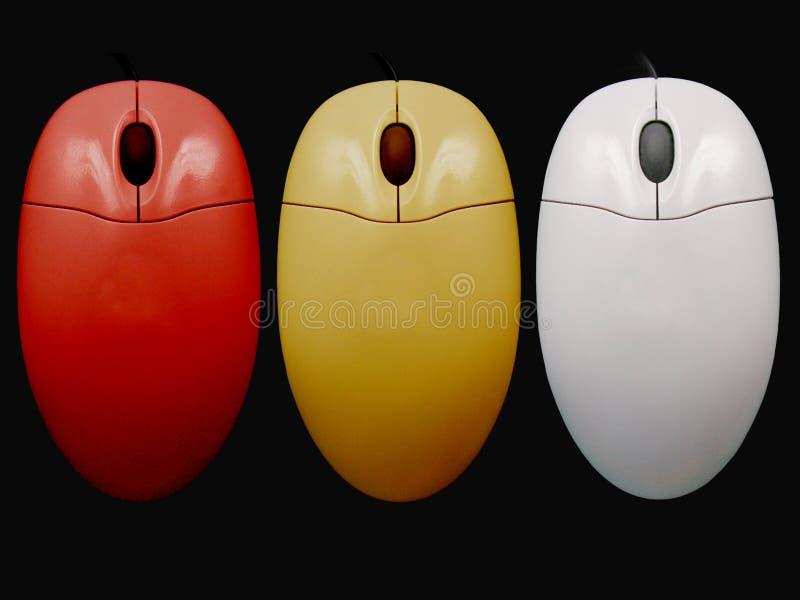 3 покрашенных mouses стоковое изображение