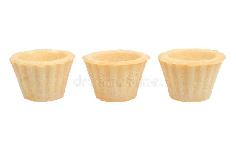 3 пустых tartlets изолированного на белизне стоковые изображения