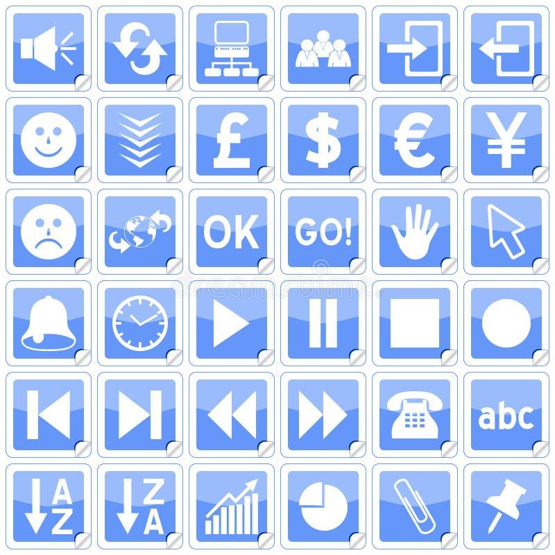 3 стикера голубых икон квадратных иллюстрация вектора