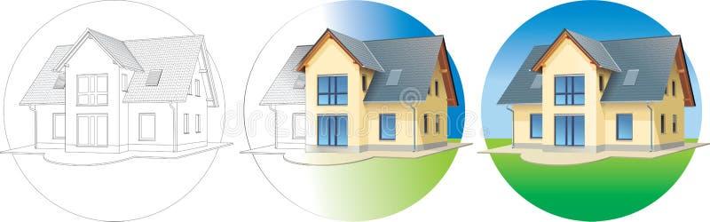3 строя этапа запланирования дома готовых иллюстрация штока