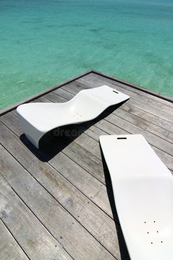 3 стула пляжа стоковое фото rf