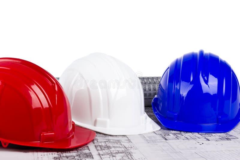 3 трудных шлема на светокопии стоковая фотография rf