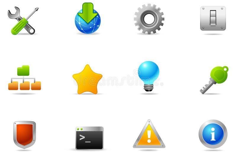 3 установленного philos икон устанавливать общее назначение иллюстрация вектора