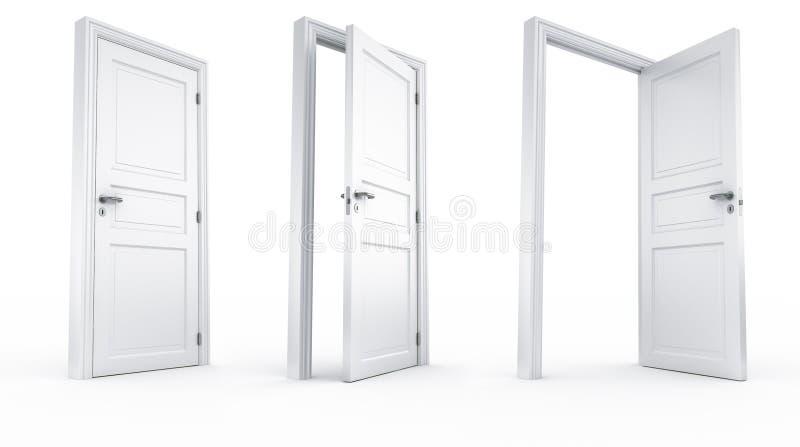 3 этапа двери иллюстрация вектора