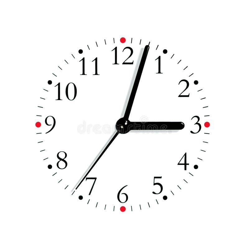 3:03 analogique blanc rouge noir de visage d'horloge, d'isolement image stock