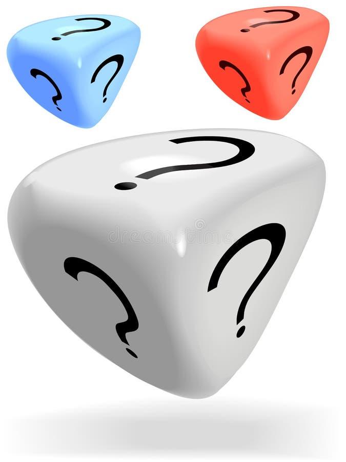 3 3 brilhantes tomaram o partido dados do mistério rolam um ponto de interrogação ilustração royalty free