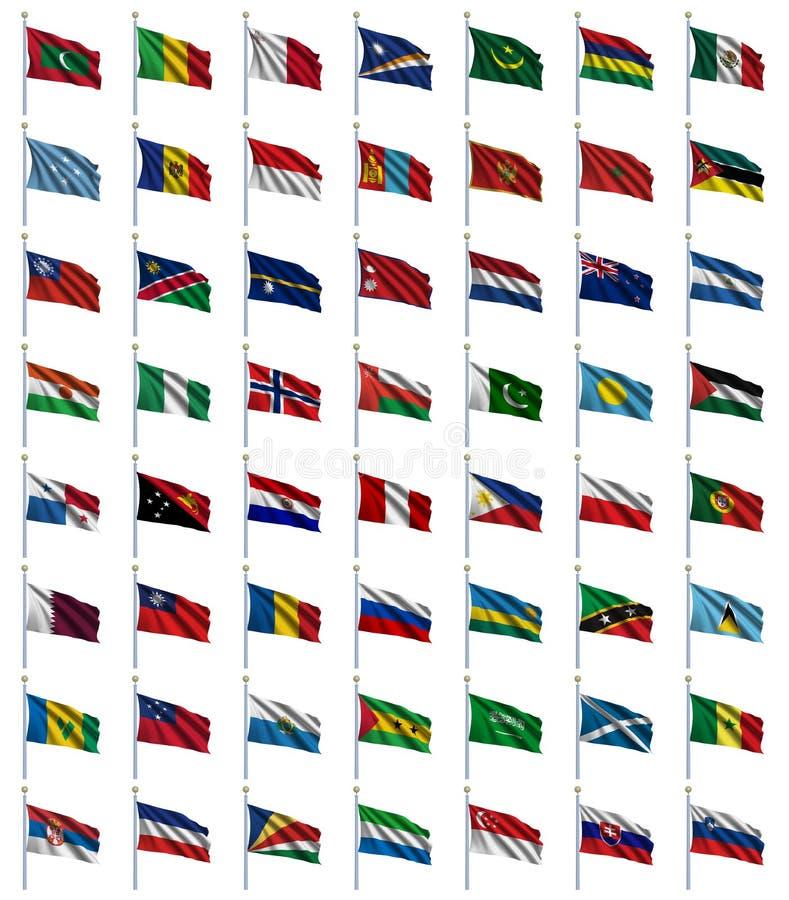 3 4 флага установили мир иллюстрация вектора