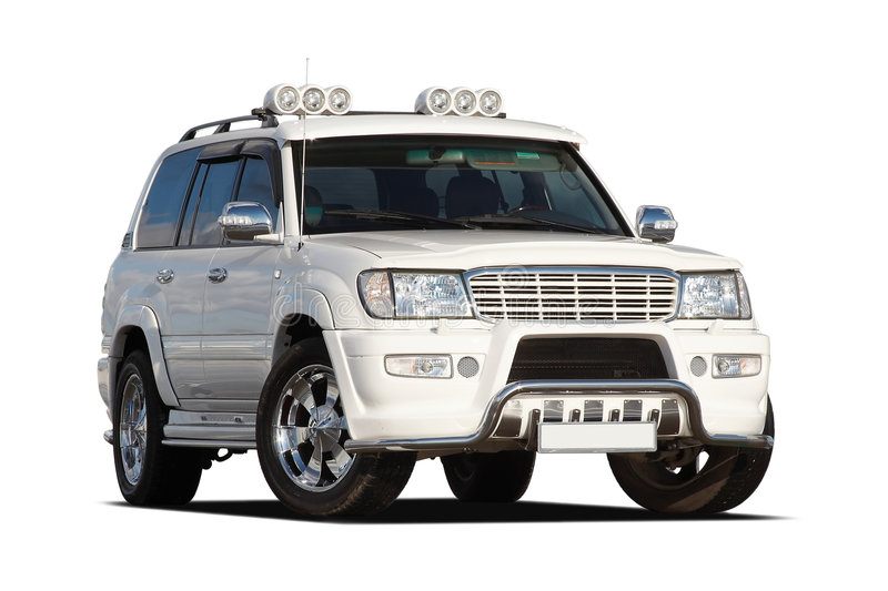 3/4 view of SUV. 3/4 view of tuned luxury SUV isolated on white stock photography
