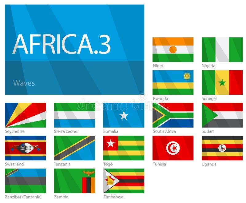 3 afrikanska landsflaggor part serievärlden stock illustrationer