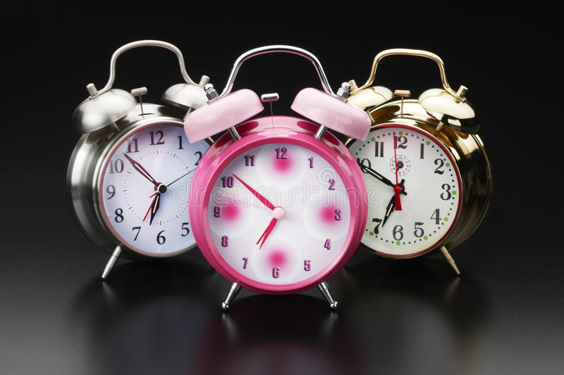Download 3 alarm clocks stock image. Image of pink, minute, classic - 18900295