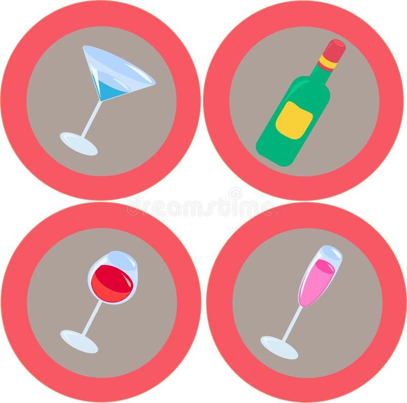 3 alkoholsymboler vektor illustrationer