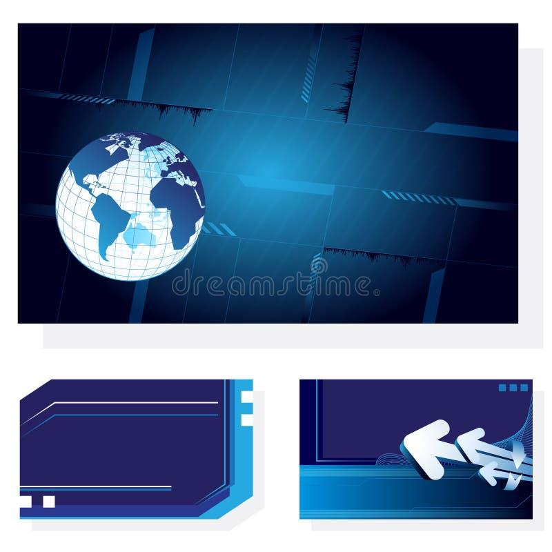3 ambiti di provenienza astratti blu illustrazione di stock