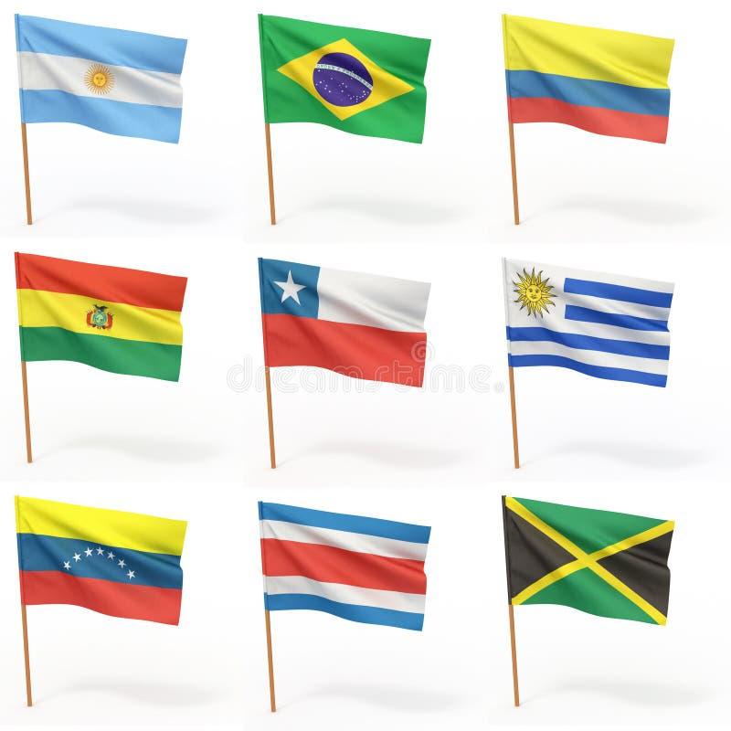 3 amerikanska samlingslandsflaggor stock illustrationer