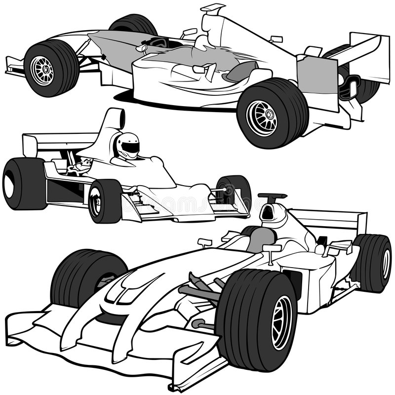 3 auto f1 vol vektor illustrationer
