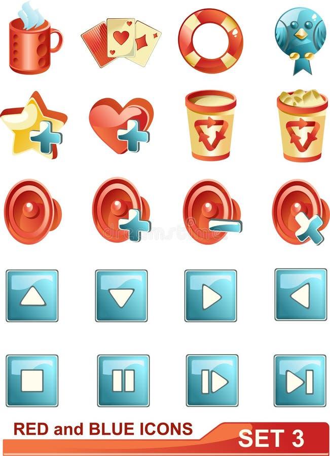 3 błękitny ikon czerwieni set fotografia stock