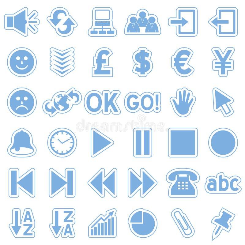 3 błękitny ikon majcherów sieć ilustracja wektor