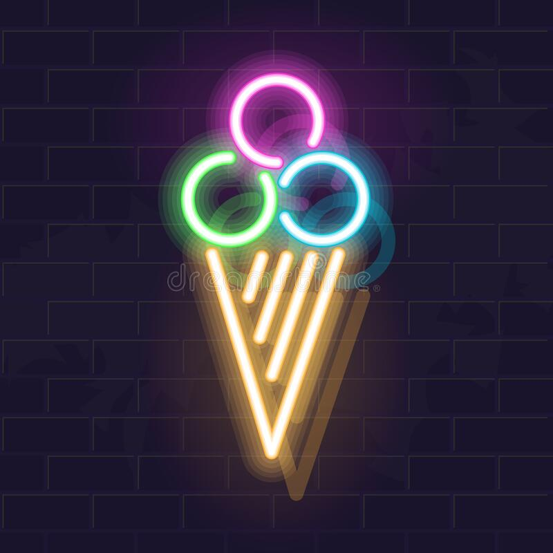 Free 3 Balls Of Ice Cream In Waffle Cone. Vector Isolated Neon Illustration For Any Dark Background. Fluorescent Line Art Royalty Free Stock Photo - 170499515