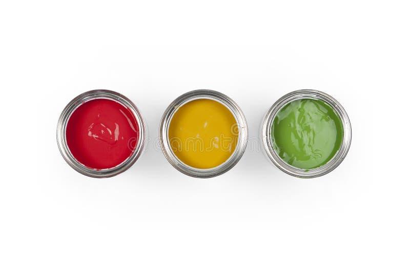 3 bidons de peinture photo libre de droits