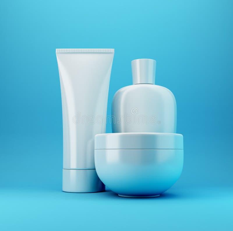 3 blåa kosmetiska produkter royaltyfria bilder